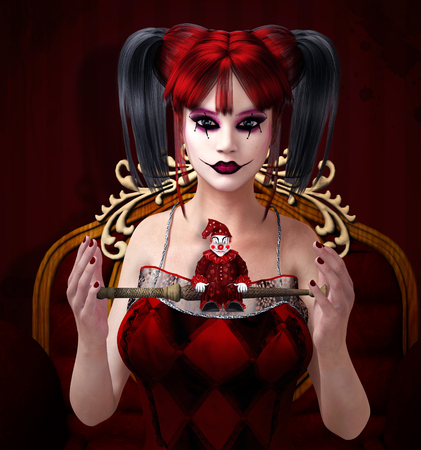 fantasy makeup: Clown with magic wand