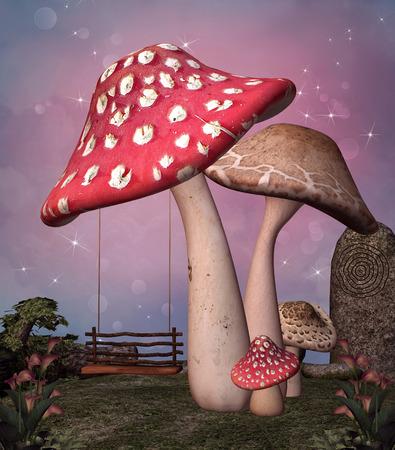 enchanted: Enchanted mushrooms and swing