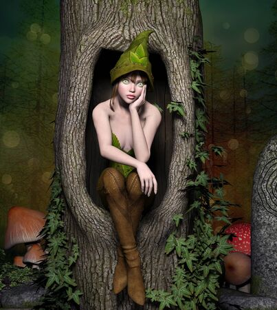 Beautiful elf sits in a trunk Stock Photo