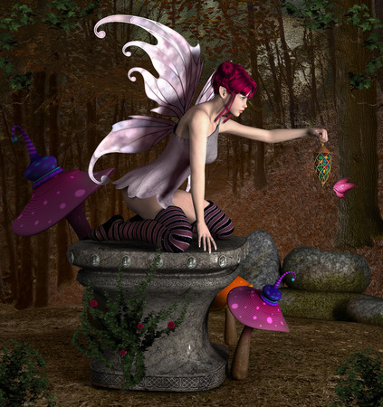 Beautiful fairy sits on an old pedestal