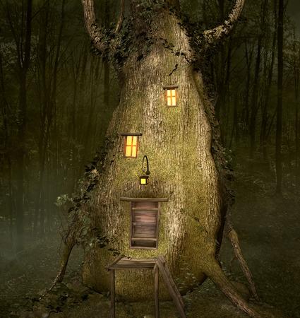 tree house: Tree trunk bizarre house