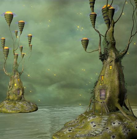 fantasy world: Fantasy water world Stock Photo