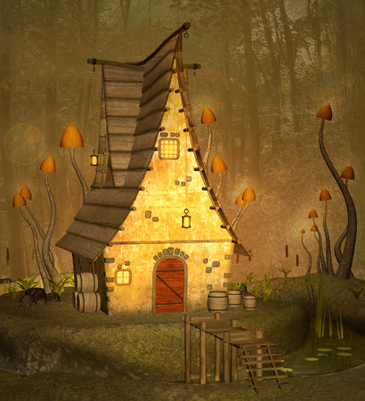 lake house: Little fantasy house Stock Photo