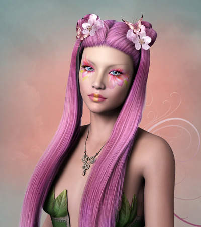 fairy: Beautiful fairy with pink hair