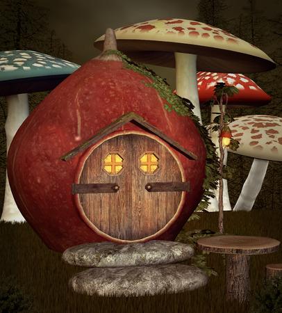 nocturne: Bizarre autumnal elf house