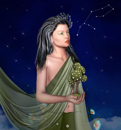 Virgo - Zodiac sign personification Stock Photo