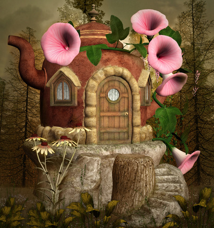 Teapot fantasy house in the forest