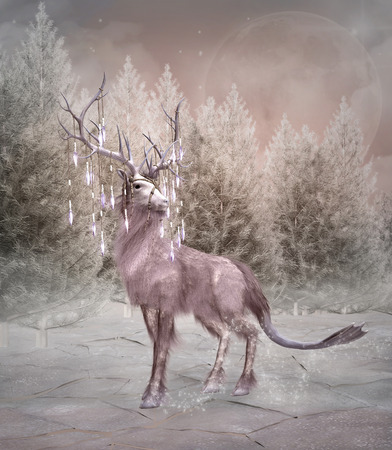 elk horn: Enchanted elk in a winter forest Stock Photo