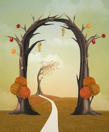 entrance: Autumn entrance Stock Photo