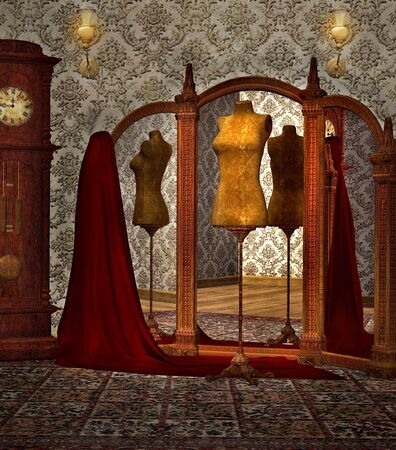 old mirror: Vintage atelier room with dummy Stock Photo
