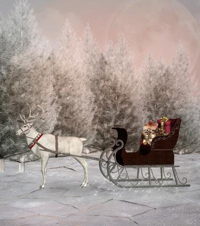 christmas snow scene: Christmas sledge in a winter scenery