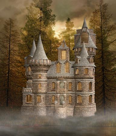 gothic window: Enchanted castle near the lake