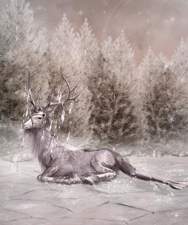 winter scenery: Fantasy elk in an enchanted winter scenery