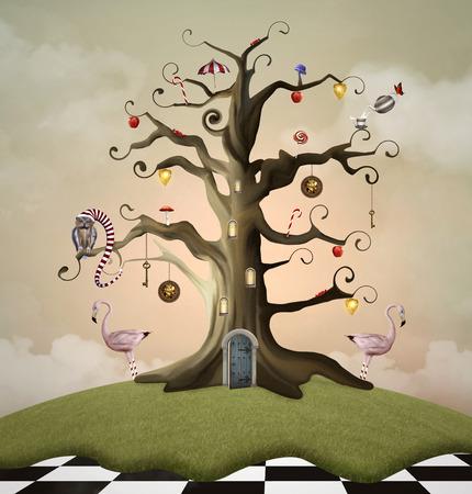 Wonderland series - Tree of life house 写真素材