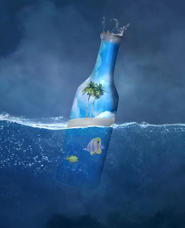 summer holidays: Summer bottle - Conceptual illustration about holidays