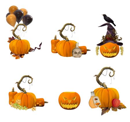jack o lantern: Collection of pumpkins on white background