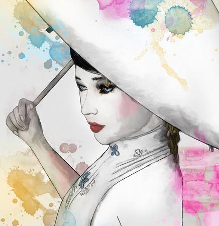 Sketch of a beautiful oriental girl