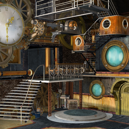 steam: Steam punk industrial interior