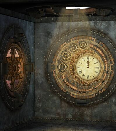 Little steam punk room with clock Stock Photo