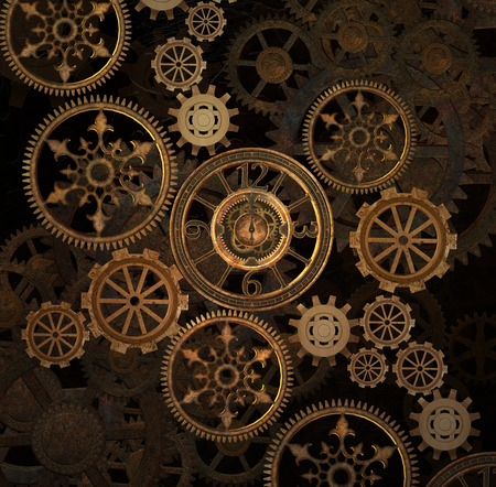 Steam punk gears background Imagens