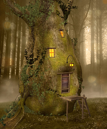 tree house: Trunk house in the middle of the forest