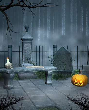 fog forest: Cemetery corner with halloween pumpkin