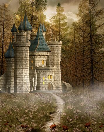enchanted forest: Enchanted castle in the evening light