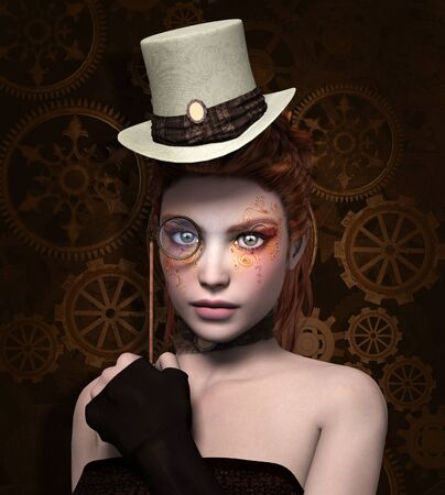 tattoo girl: Steam punk girl with monocle Stock Photo