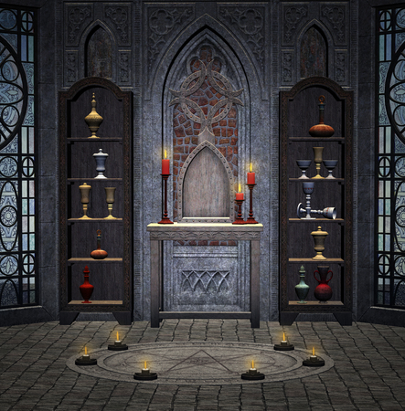 the altar: Mysterious medieval room