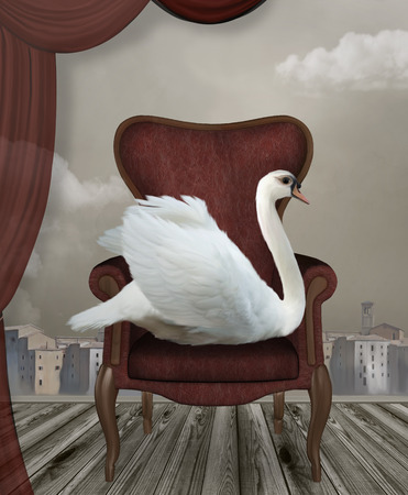 surreal: Surreal portrait of a swan