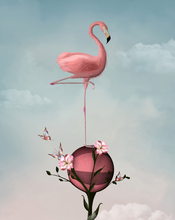 light pink: Surreal composition with flamingo and lilies