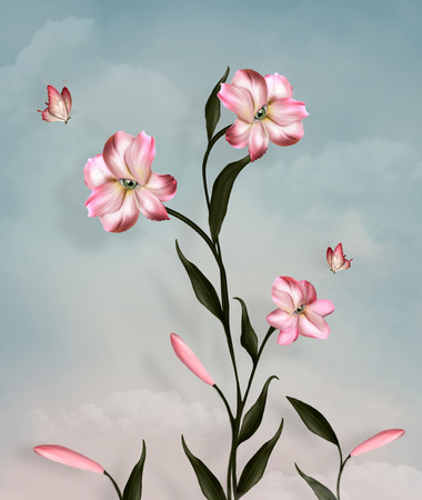 pink lily: Surreal lily and butterflies