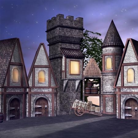 borgo medievale da sera Archivio Fotografico