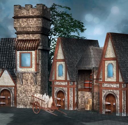 Mittelalterliches Dorf Standard-Bild - 50212138