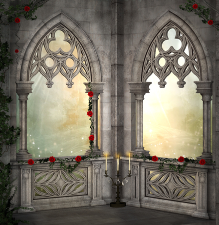 balcony window: Romantic background with red roses