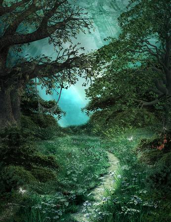 animales del bosque: noche de verano 's serie de sue�os - Camino en el bosque m�gico verde Foto de archivo