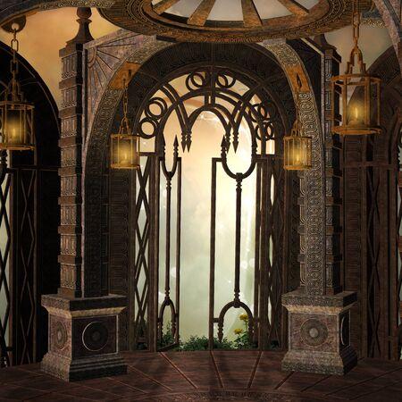 palaces: Ancient fantasy background Stock Photo