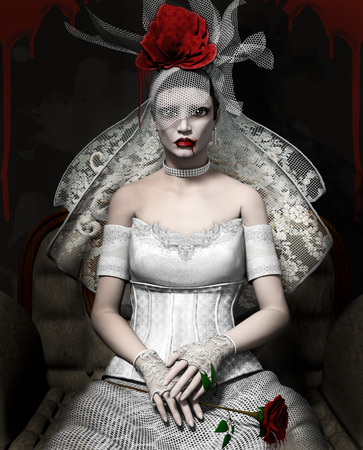 roses and blood: Vampire bride Stock Photo