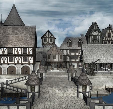 Blick auf ein mittelalterliches Dorf Standard-Bild - 51796379