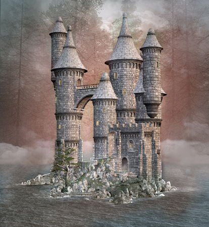 fog forest: Mysterious castle in a hazy lake Stock Photo