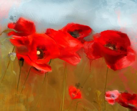 campo de flores: Campo de amapolas - Pintura al óleo