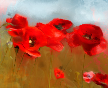oil painting: Poppies field - Oil Painting