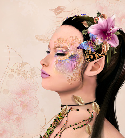 baroque pearl: Portrait of a beautiful fairy with fantasy makeup and flowers decorations