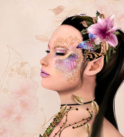 fantasy makeup: Retrato de una hermosa hada con maquillaje de fantasía de flores y decoraciones