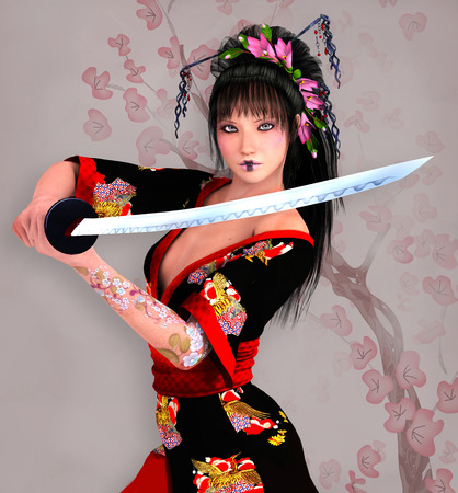 sword fight: Samurai girl with sword