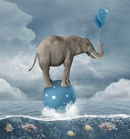 Surreal illustration with elephant in the middle of the sea 写真素材
