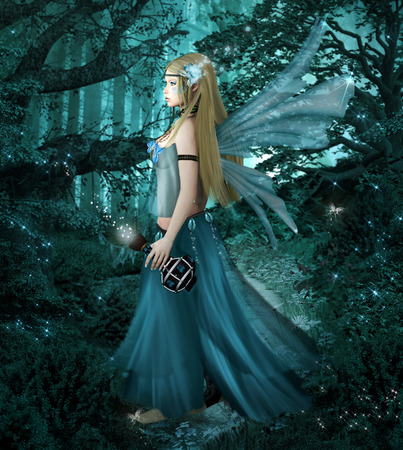 Blue fairy into the forest
