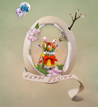 balon baloncesto: Ilustraci�n de Pascua con el huevo de Pascua