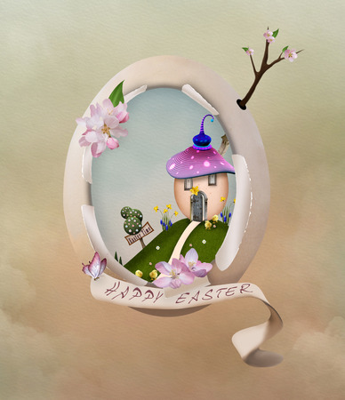 broken eggs: Easter illustration with egg and easter landscape