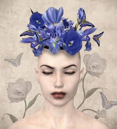 Vintage portret van een vrouw met surrealistische bloemen in haar gedachten Stockfoto